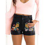 Floral High Waisted Leather Shorts - BLACK