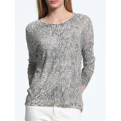 Buy GRAY Scoop Neck Snake Print Long Sleeve Sweater for $15.44 in GearBest store