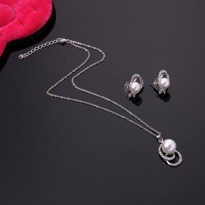 Buy SILVER Classical Rhinestone Faux Pearl Decorated Pendant Necklace and A Pair of Earrings For Women for $2.99 in GearBest store