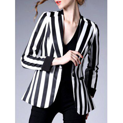 One Button Striped Blazer