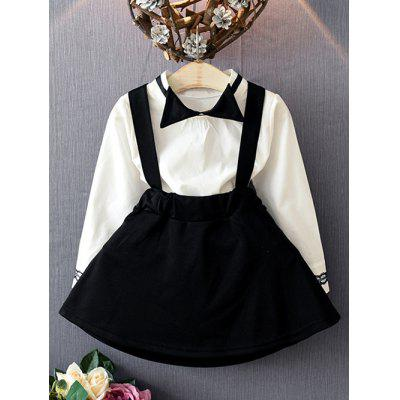 Bowknot Neck Printed Blouse + Suspender Skirt Set