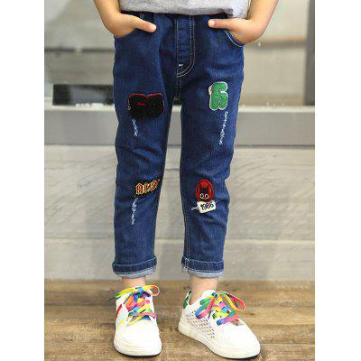 Embroidery Elastic Waist Straight Jeans