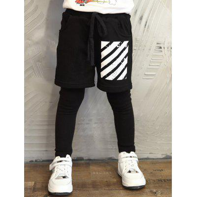 Knitted Drawstring Striped Faux Twinset Sweatpants