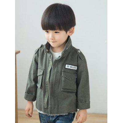 Pocket Long Sleeve Turn-Down Collar Jacket
