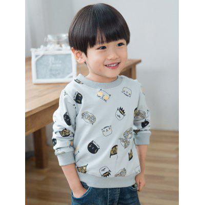 Kitten Print Round Neck Sweatshirt
