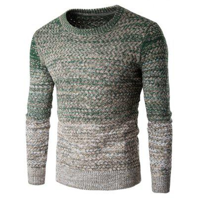 Buy GREEN L Round Neck Knit Blends Ombre Long Sleeve Sweater for $11.31 in GearBest store