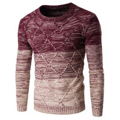 Buy WINE RED XL Round Neck Knit Blends Ombre Kink Design Long Sleeve Sweater for $12.57 in GearBest store