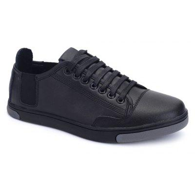 PU Leather Tie Up Round Toe Casual Shoes