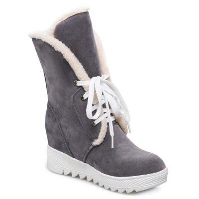 Buy GRAY Lace Up Faux Fur Suede Wedge Mid Boots for $27.83 in GearBest store