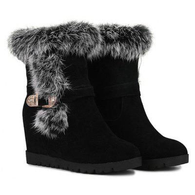 Faux Fur Hidden Wedge Short Boots