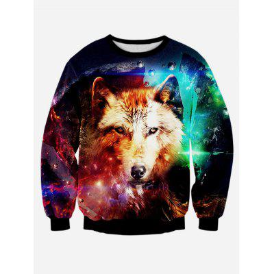 Wolf 3D Print Long Sleeve Round Neck Sweatshirt