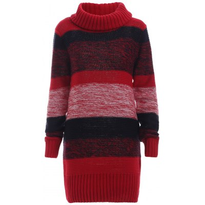 Color Block Ribbed Turtleneck Long Sleeves Sweater Dress
