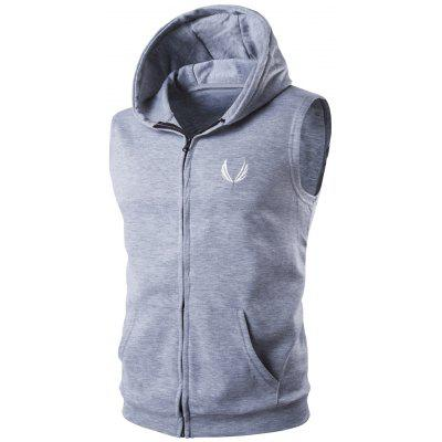 Hooded Embroidery Sleeveless Hoodie Zip-Up Waistcoat