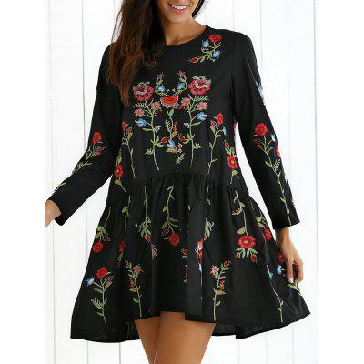 Drop Waist Floral Embroidered Dress