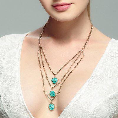 Buy GOLDEN Layered Chain Faux Turquoise Sweater Chain for $4.10 in GearBest store