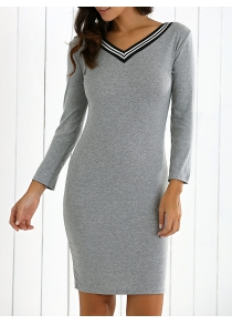 Long Sleeves V-Neck Sweater Dress