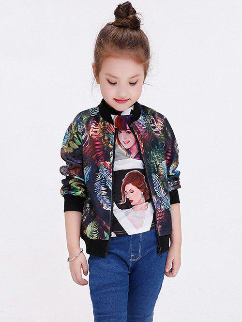 Leaf Printed Long Sleeve Baseball Jacket