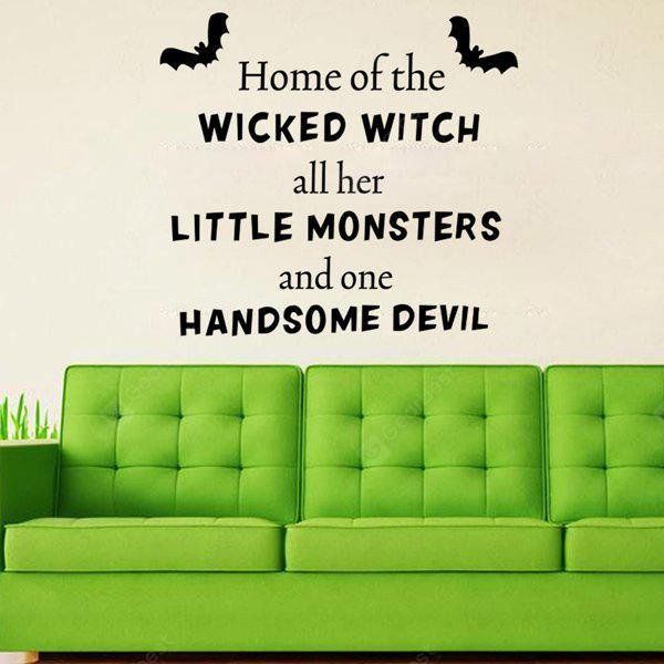 BLACK Halloween Proverb Wicked Witch Words Room Decoration Wall Sticker