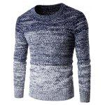 Round Neck Knit Blends Ombre Long Sleeve Sweater - CADETBLUE