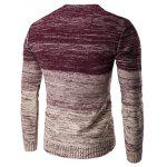 cheap Round Neck Knit Blends Ombre Kink Design Long Sleeve Sweater