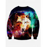 Wolf 3D Print Long Sleeve Graphic Sweatshirts - BLACK