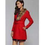 Stand Collar Fur Embellished Pocket Design Coat for sale
