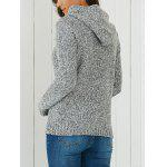 Hooded Long Sleeve Pocket Design Women's Sweater - LIGHT GRAY