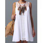 Lace Panel Spring Casual Tunic Dress - WHITE