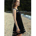 cheap Trendy Round Neck Sleeveless Voile Spliced Black Dress For Women