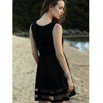 Trendy Round Neck Sleeveless Voile Spliced Black Dress For Women for sale