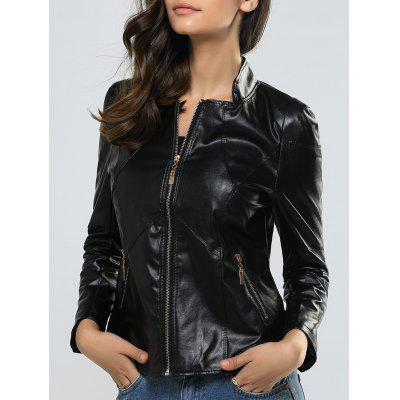 Zipper Slimming Faux Leather Jacket