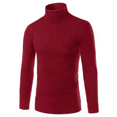 Buy RED XL Turtle Neck Rib Splicing Long Sleeve Cotton Blends Sweater for $6.80 in GearBest store
