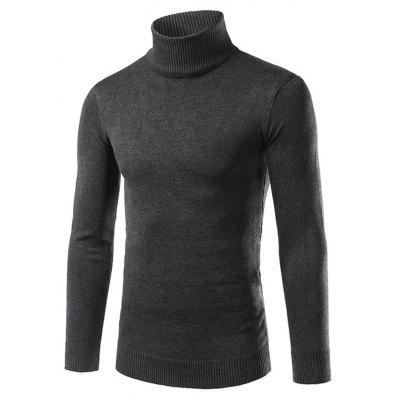 Buy DEEP GRAY 3XL Turtle Neck Rib Splicing Long Sleeve Cotton Blends Sweater for $6.80 in GearBest store