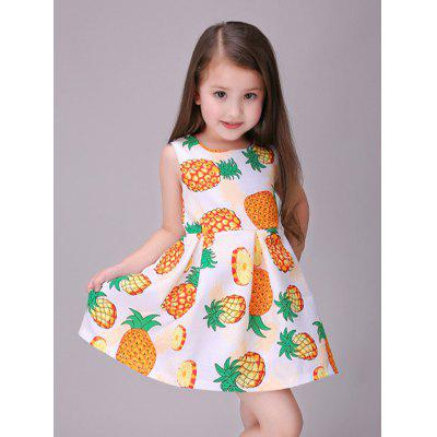 Zip Back Pineapple Printed Princess Dress