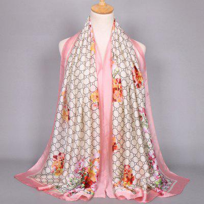 Casual Flower Round Mesh Satin Shawl Scarf