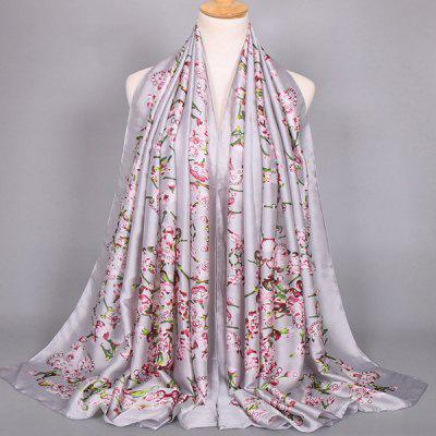 Wintersweet Pattern Satin Shawl Scarf
