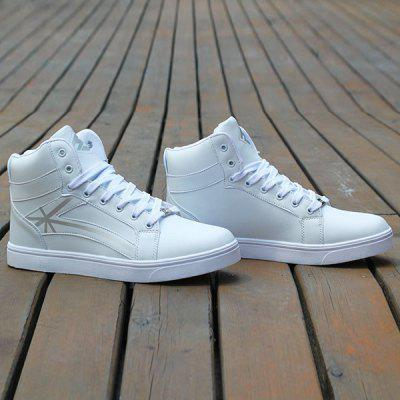 Buy WHITE 44 PU Leather Colour Splicing Tie Up Casual Shoes for $27.78 in GearBest store