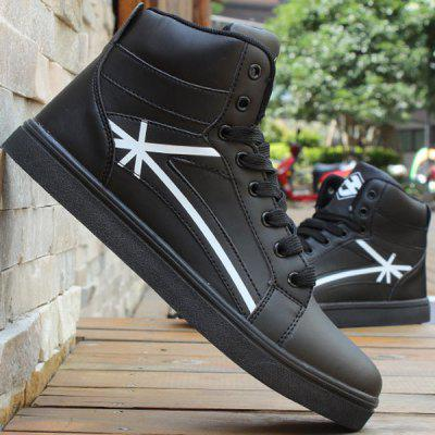Buy BLACK 44 PU Leather Colour Splicing Tie Up Casual Shoes for $27.78 in GearBest store