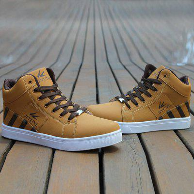 Buy LIGHT BROWN Color Splicing Striped Pattern Tie Up Casual Shoes for $21.10 in GearBest store