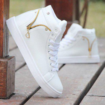 Zipper PU Leather Casual Shoes