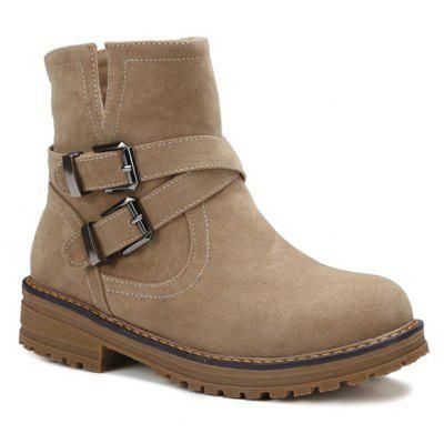 Double Buckle Suede Short Boots