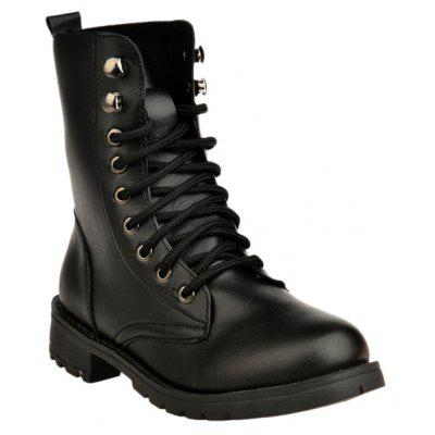 Metal Eyelet PU Leather Combat Boots