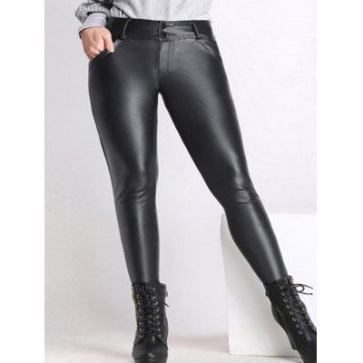 Faux Leather Plus Size Skinny Pants