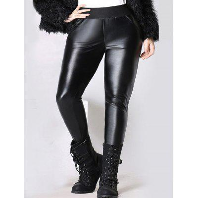 Buy BLACK Elastic Waist Thicken Slim Faux Leather Pants for $27.26 in GearBest store