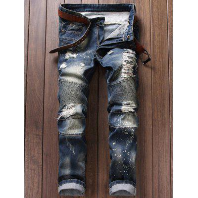 Ruched Design Destroy Washed Moto Jeans