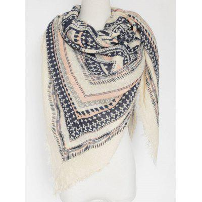 Casual Cross Photo Frame Fringed Edge Square Scarf