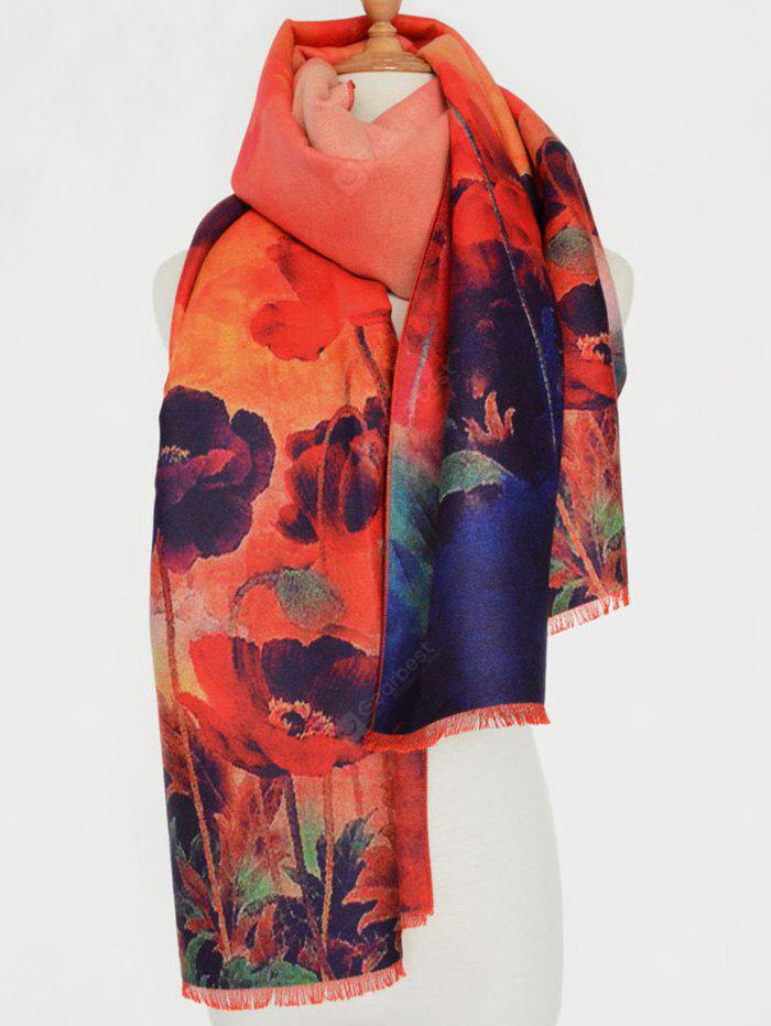 Casual Old Shanghai Flower Painting Fringed Edge Scarf