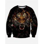 Round Neck Long Sleeve 3D Tiger Print Sweatshirt - BLACK