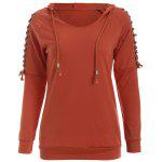 Eyelet Hooded Sweatshirt - TEA-COLORED