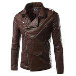 Plus Size Epaulet design PU-cuir Turn-Down Collar Zip-Up Jacket - BRUN